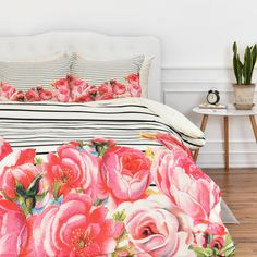 DENY Designs Allyson Johnson Bold Floral and Stripes Duvet Cover