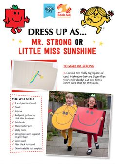My Mr.Men/Little Miss Sunshine World Book Day ideas: http://www.bookaid.org/get-involved/fundraise/schools/world-book-day-2014/dress_up_resources/