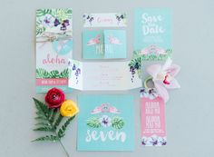 """""""You had me at Aloha' <3 Mint, green and pink hand painted, water color style, tropical wedding invites with beautiful ferns and flamingos. Click for the most absolutely gorgeous Tropical Wedding ideas ever!"""