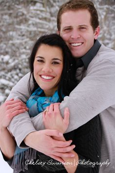 Christmas pictures in the snow. Would be fun to have couple photos done for every season within our engagement and the first year of our marriage, so that for every season, I could have festive pictures throughout the house too! :)