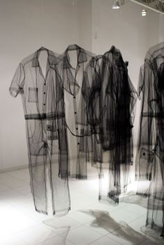 The sheerness of these clothes in this installation in ethereal and ghost-like. fashion art exhibition // Claudia Casarino LOVE THESE!