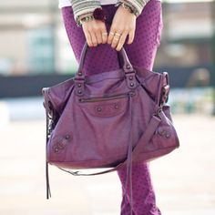 Balenciaga in raisin color from wendyslookbook.com
