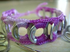 ReCycladelic Upcycled Pop Top Bracelet Pixie Dust in Variegated Purple Soda Can Pop Tab Jewelry