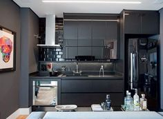Black small kitchen
