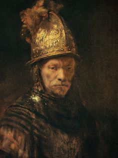 Pintura hecha por el genio de Rembrandt van Rijn. observemos la maestria con que manejo los efectos metalicos del casco o yelmo. ; Der Mann mit dem Goldhelm