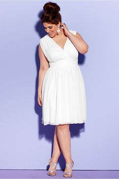 14 Gorgeous Wedding Dresses For The Plus-Size Bride #refinery29 http://www.refinery29.com/plus-size-wedding-dresses#slide10 Trixxi Plus-Size Sleeveless Sequin Empire A-Line Dress, $79.99. available at Macy's.