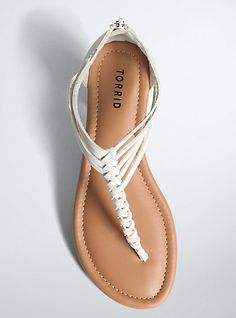 Braided T-Strap Sandals (Wide Width)Braided T-Strap Sandals (Wide Width), WHITE