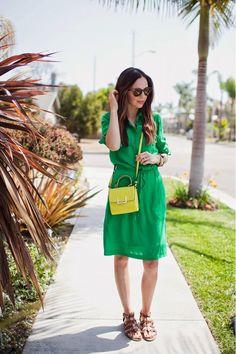 11 Ways To Wear A Neon Yellow Bag via @WhoWhatWear