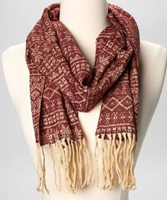 Burgundy & Gold Nordic Fringe Scarf by ComfyInTheSouth on Etsy