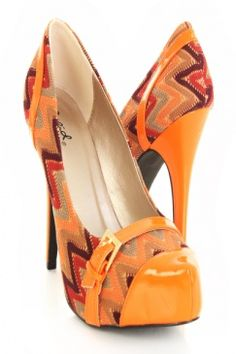 Brown Multi Fabric Abstract Faux Patent Leather Buckle Pump Heels