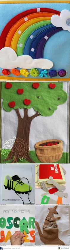 """Quiet Book Patterns & Ideas These pages look more like the """"classic"""" pages I'm looking for for my future grandbabies! Diy Quiet Books, Baby Quiet Book, Felt Quiet Books, Felt Crafts, Diy And Crafts, Crafts For Kids, Craft Projects, Sewing Projects, Quiet Book Patterns"""