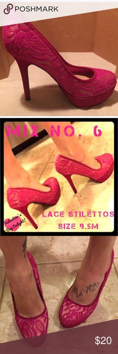 """💕 MIX NO 6 💕 Hot Pink Lace Stilettos NAMN Style❣ OFFERS WELCOME! 💖 MIX NO 6 Stilettos! Excellent used condition. Clean inside and out. Only thing is that is looks like there was fabric tread or non-slip pads on the bottom. You will want to remove this and maybe add a non-slip patch although the rubber tread underneath the fabric tread looks fine. Gorgeous hot pink or magenta color. Style NAMN. Size 9.5M. Mix of textiles and man-made material. Mesh upper with lace embroidery • 1"""" platform…"""