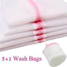 GYBest Set of 6 Mesh Washing Bags  2x Extra Large 1x Large 1x Medium 1x Small 1x Bra Wash Bag  Laundry Wash Bag for Blouse Hosiery Stocking Underwear Bra and Lingerie Travel Laundry Bag * See this great product.