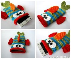 Knitting Patterns Bag Crochet this funny cellphone bag, camouflaged as a fish! You are guaranteed to fall on it! Dimensions of the . Crochet Crafts, Crochet Toys, Crochet Projects, Knit Crochet, Quick Crochet, Crochet For Boys, Fun Crafts, Diy And Crafts, Crochet Phone Cover