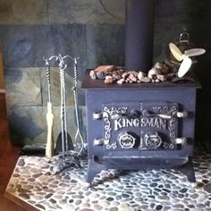Woodstove with river rock and slate  DIY Project