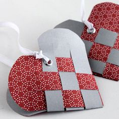 Woven Paper Heart Ornament DIY tutorial