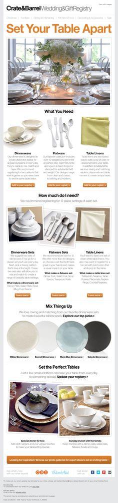 Crate & Barrel Wedding Registry Email #2 Email Layout, Email Design Inspiration, Email Marketing Design, Sale Flyer, Newsletter Design, Catalog Design, Gift Registry, Email Campaign, Crate And Barrel