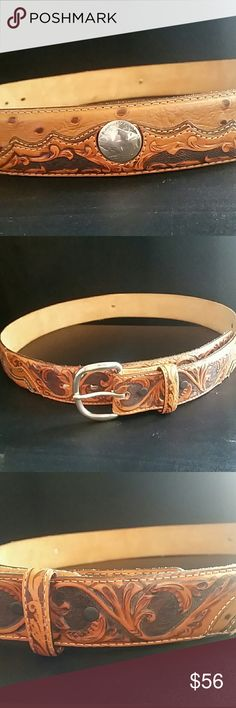 TONY LAMA Genuine Leather Belt Unisex Brown leather with amazing raised hand tooled detailing & Three Buffalo Nickel buttons. Buckle is silver and can be swapped out. Measures 36 inches by 1.5 inches wide. Please feel free to ask any questions prior to purchasing. Tony Lama Accessories Belts