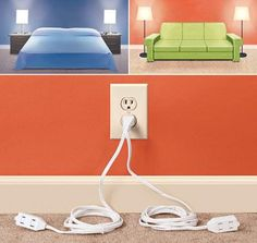 Short on outlets? Check out this double extension cord. Just make sure not to overload the outlet.