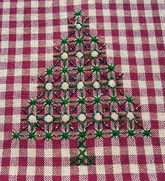Christmas and other trees to embroider on gingham.