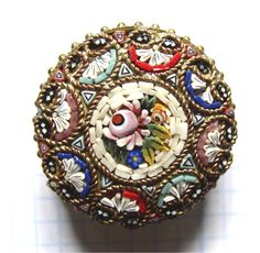"""Edwardian 1"""" Domed Round Floral Micromosaic   eBay"""