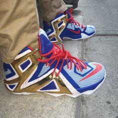 NIKEiD LeBron XII 12 Elite Blue White-Gold-Red Swag Shoes 823190edddae