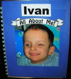 """Making an """"All About Me"""" book is a wonderful early literacy experience. This example, shared by Ivan and his mother Amber, shows some of the basic elements, such as photos of the child, family members, and friends, textures, with print and braille text throughout.    Make a page with the first letter of the child's name. Note that text is in large print and braille. Bells are Ivan's name symbol and are attached with velcro, so that he can remove them and look at the..."""