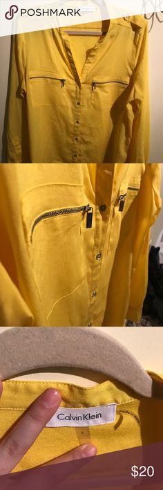 2e5037e8710 Calvin Klein button up blouse Beautiful Calvin Klein button up blouse with  silver zipper and button