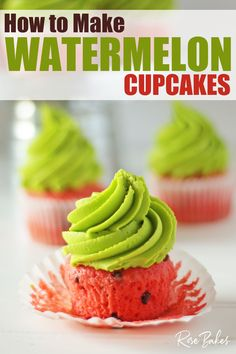 How to Make Watermelon Cupcakes. Summer is here and it's time to have watermelon. cupcakes that is ;) Check out this fun and easy recipe for bright, summery cupcakes! Watermelon Cupcakes, Summer Cupcakes, Cupcake Recipes, Baking Recipes, Dessert Recipes, Easy Recipes, Retro Recipes, Pie Recipes, Dessert Ideas