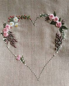 Rose heart embroidery