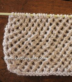 diagonal eyelet mesh stitch knitting