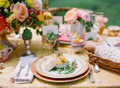 A pretty peach,  French provincial inspired tablescape.  Photo shoot