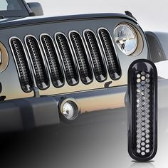 7 pcs front grille insert kit grid mesh ventilation for Jeep Wrangler Rubicon JK 2007-2016