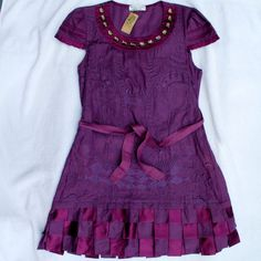 Deep Purple Pure Cotton BK Designer Dress Cap Sleeve S 8 NWT Excellent