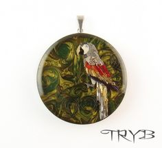 Parrot - unique handmade pendant. There were more then 120 watch hands used for this work, hand painted background. #clockwork #parrot  #handmade #pendant #steampunk #tryb #jewelry