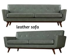 This Mid Century Modern sofa features cushioned arms for added comfort, small scale tufting for accent and gray eco-leather upholstery filled with dense foam for coziness. Mid Century Modern Sofa, Mid Century Modern Furniture, Hollywood Regency, Sofa Furniture, Contemporary Furniture, Tuxedo, Interior Styling, Classic Style, Mid-century Modern