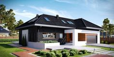 Modern house for lovers of elegance! Bungalow House Plans, Bungalow House Design, Modern House Plans, Modern House Design, Home Interior Design, Interior Decorating, Small Cottages, Ranch Style Homes, House Paint Exterior