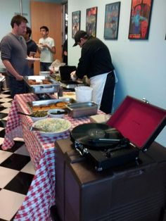 Such a fun lunch at BranchOut HQ today, chicken, waffles, and old vinyl.
