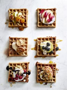 Inspiration for sweet waffles. Junior Chef Classes: The Best of Breakfast I Love Food, Good Food, Yummy Food, Breakfast Desayunos, Breakfast Ideas, Homemade Breakfast, Pancakes And Waffles, Buttermilk Waffles, Yummy Waffles
