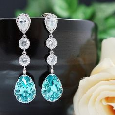 Swarovski Cyrstal Tear Drops with cubic zirconia connectors Bridal Earrings - Earrings Nation. Nice website. These are $41.80