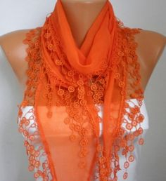 Orange Scarf Cotton Scarf  Cowl with Lace Edge by fatwoman on Etsy, $15.00