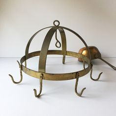 Vintage Brass Pot Rack or Game Rack, Butcher's Rack, Small Pot Rack,... ($95) ❤ liked on Polyvore featuring home, kitchen & dining, storage racks, pot storage rack and brass pot rack