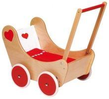 Drevený kočík Srdiečko - Všetko pre bábiky - Hračky pre deti - Hračky a Detský nábytok- Detský Sen - Maxus