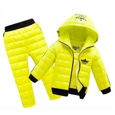 2017 Hoodies Down Jacket +Trousers Waterproof Snow Warm kids Clothes Jogging Suits New Children Boys girls Clothing sets Winter Outfits For Girls, Boys And Girls Clothes, Warm Outfits, Kids Outfits, Pants Outfit, Outfit Sets, Winter Baby Boy, Kids Overalls, Kids Coats