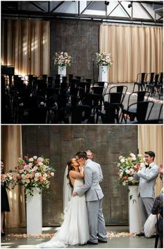 Modern indoor wedding ceremony, black chairs, romantic pink floral arrangements, petals on the ground // Michelle Lytle Photography Indoor Wedding Ceremonies, Wedding Ceremony, Bridesmaid Dresses, Wedding Dresses, Floral Arrangements, Wedding Photos, Dream Wedding, Black Chairs, Romantic