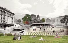 'Floating Plaza' Competition Entry / NC-Office What Is Landscape Architecture, Landscape Plaza, Landscape And Urbanism, Architecture Graphics, Concept Architecture, Landscape Design, Plaza Design, Urban Concept, Office Images