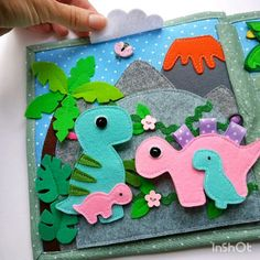 videos Dinosaur Quiet book, 2 pages for babys, a useful safe toy with secrets and figures of dinosaurs, the development of imagination in a child Diy Quiet Books, Baby Quiet Book, Felt Quiet Books, Toddler Crafts, Crafts For Kids, Sensory Book, Quiet Book Patterns, Toddler Books, Fathers Day Crafts