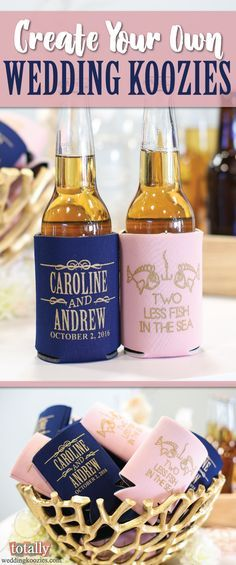 Create Your Own Wedding Koozies with our easy online design tool! We have over 800 customizable designs to choose from or you can submit your own artwork! Your guests will love these useful wedding favors! Every wedding koozie order also comes with a FREE complimentary bride & groom koozie!