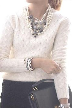 Bunch of necklaces, cream cashmere sweater and skirt - so classy and feminine