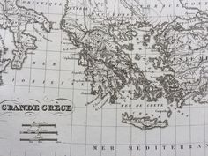 1822 Grande Grece Original Antique Engraved Ancient History Map - Fine Detail - Greece - Available Mounted and Matted - Magna Graecia by NinskaPrints on Etsy https://www.etsy.com/uk/listing/540901536/1822-grande-grece-original-antique